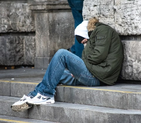 homeless cold man